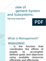Overview of Management System and Subsystems