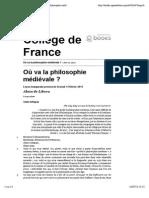 Alain de Libera - «Où va la philosophie médiévale ? Collège de France