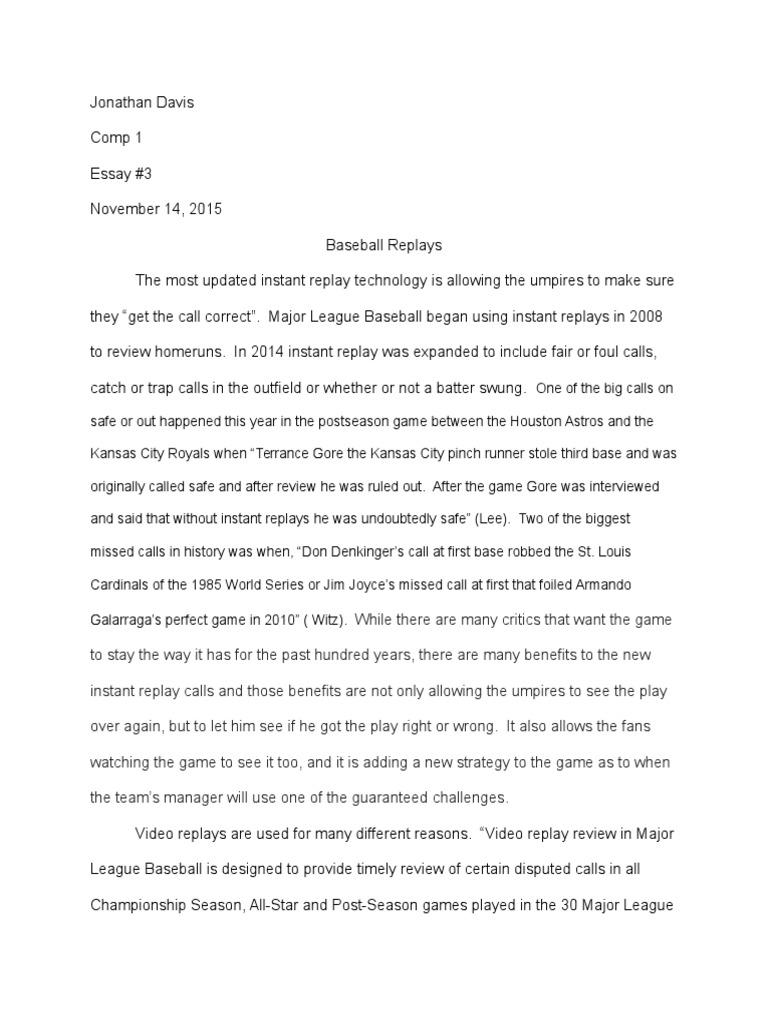 Argumentative essay baseball field team sports