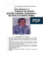 CARTA ABIERTA N° 5  A LA RAZA HUMANA DEL PLANETA TIERRA (Autoguardado)