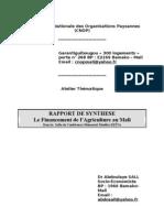 Atelier thématique sur le financement de l'agriculture - Rapport de synthèse financement de l'agriculture final