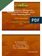 Atelier thématique sur le financement de l'agriculture - Diaporama