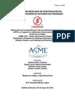 Elaboración de La Especificación Del Procedimiento de Soldadura WPS y El Registro de Calificacion PQR Segun ASME .