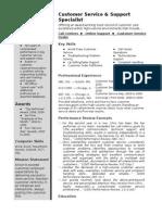 Sample CustomerService Resume
