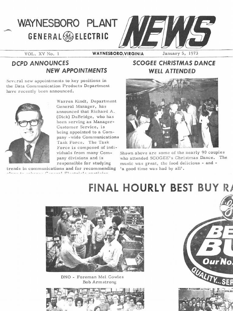 GE Waynesboro Plant News (1973) | Business | Wellness on