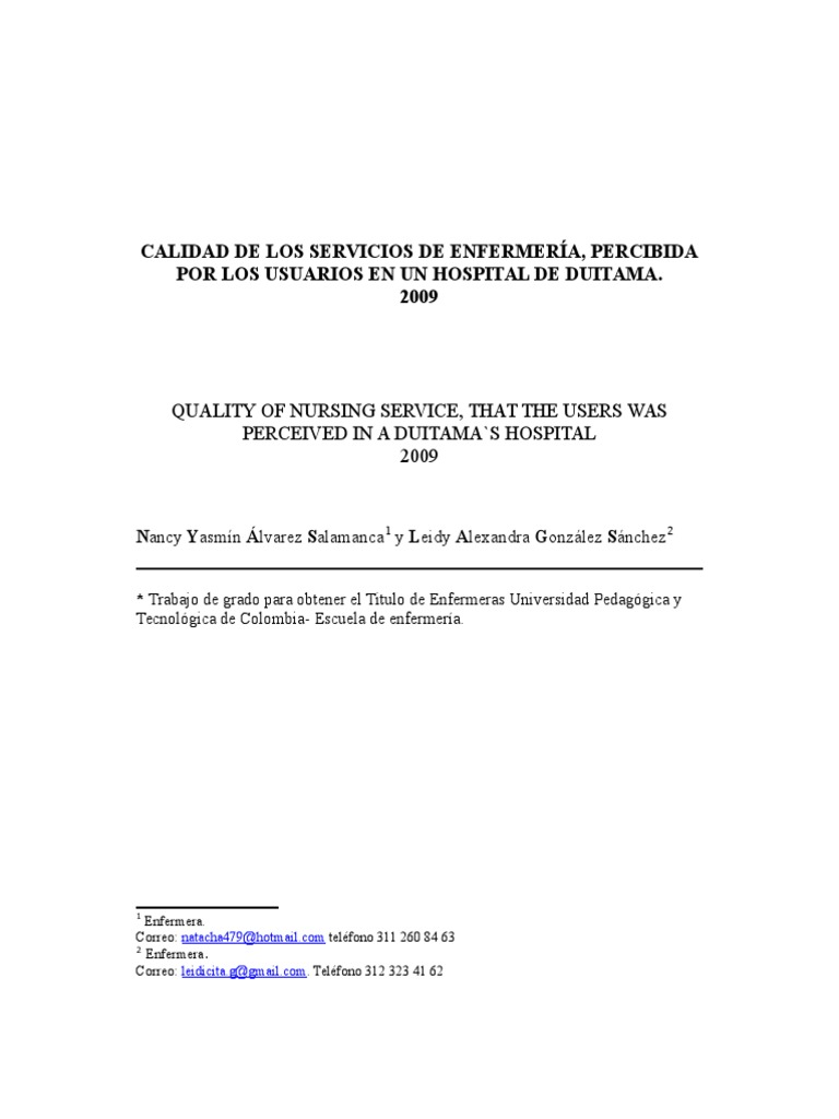 CALIDAD DE LOS SERVICIOS DE ENFERMERÍA, PERCIBIDA POR LOS USUARIOS ...