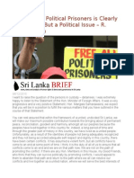 The Issue of Political Prisoners is Clearly Not a Legal but a Political Issue – R. Sampanthan