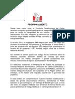 Pronunciamiento 04-12-15 Violencia en El Callao