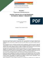 Platos Típicos de la Gastronomía de México, Brasil y Argentina