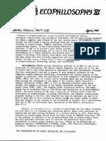 3. Sessions George Ecophilosophy Newsletter 3 April 1981