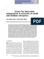 Sucess Factor for Innovatiopn Management in SMEs