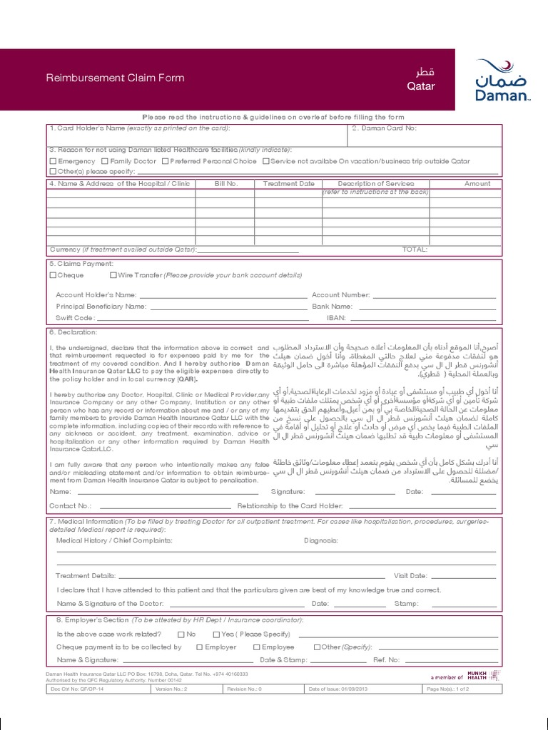 Reimbursement Claim Form Insurance Invoice