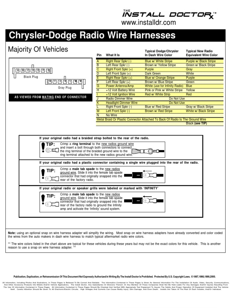 Chrysler Dodge Radio Wire Harnesses Wiring Electrical Connector Aftermarket Stereo Manufactured Goods