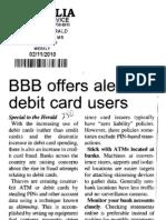 BBB offers alert for debit card users