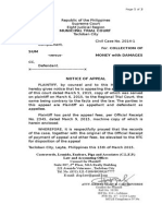Notice of Appeal to Rtc
