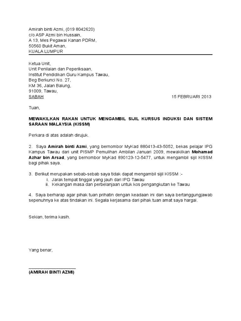 Contoh Surat Wakil Ambil Sijil
