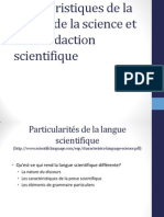 Caractéristiques Langue de La Science Et La Rédaction Scientifique