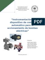 Instrumentación y Dispositivo de Control Automático Para El Accionamiento de Bombas Eléctricas