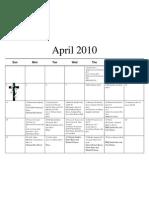April 10 Calendar and Menu