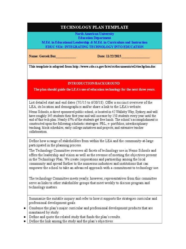 Technology Plan Gercek Boz Educational Technology Curriculum
