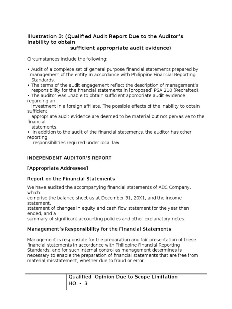 Ho 3 qualified audit report scope limitationc auditors ho 3 qualified audit report scope limitationc auditors report audit altavistaventures Image collections