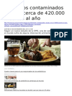 Alimentos Contaminados Causan Cerca de 420