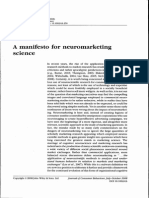 A Manifesto for Neuromarketing, 2008