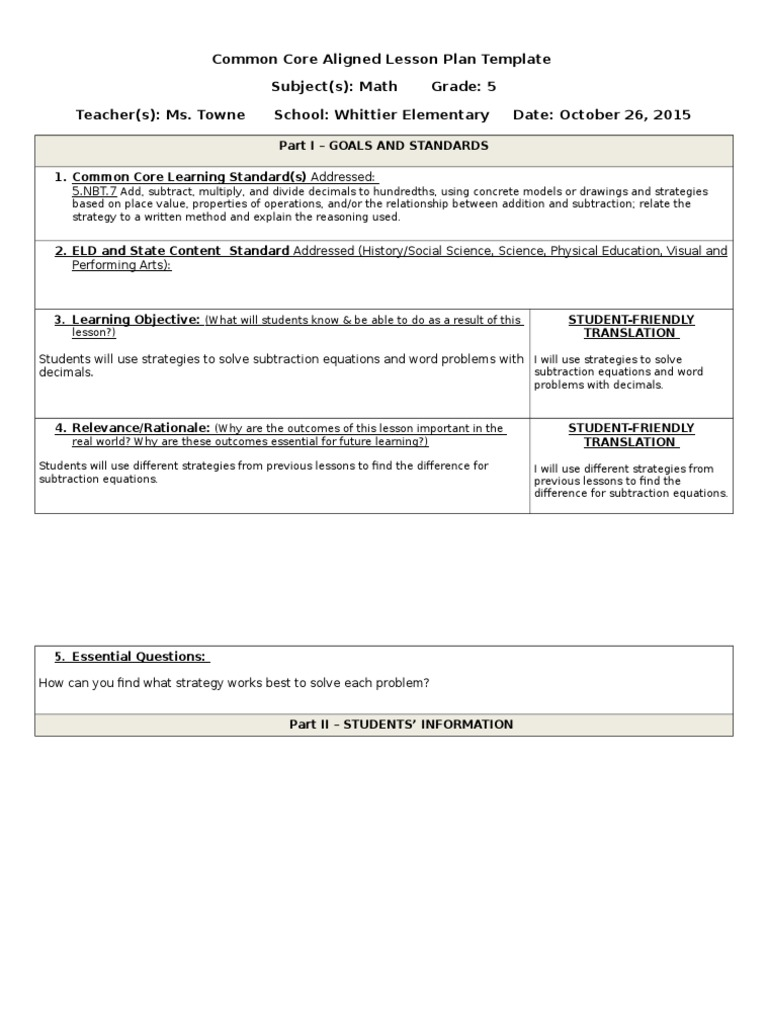 Bst Math Lesson Plan Common Core State Standards - Common core aligned lesson plan template