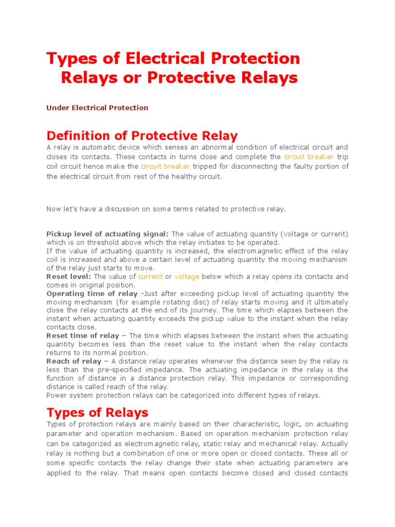 Types Of Electrical Protection Relay Relay Electric Power System - Protection relays and circuit breakers