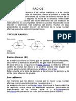 Radios Ionicos, Covalente y atomicos