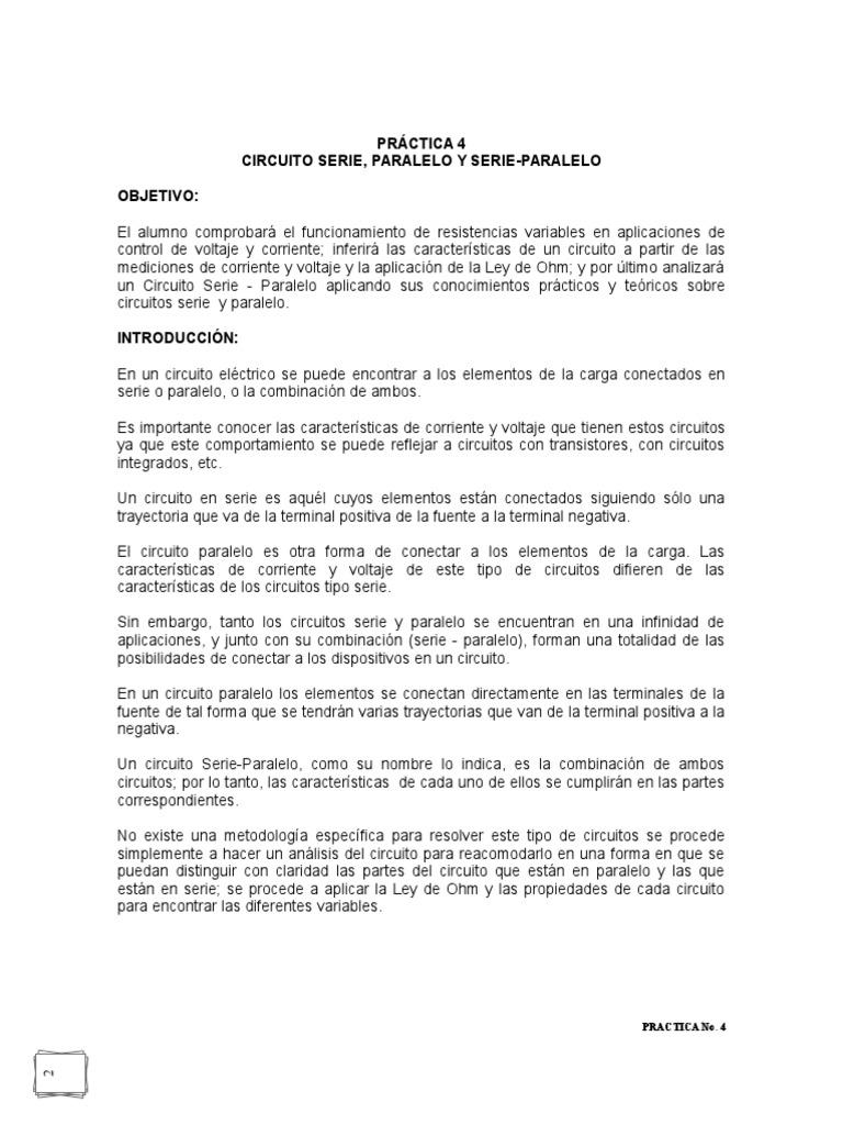 Circuito Seri E Paralelo : Practica no circuito serie paralelo y serie paralelo