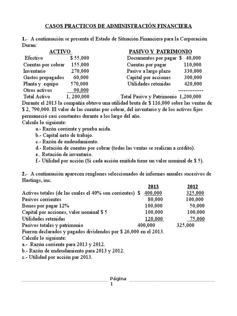Casos Practicos de Administracion Financiera