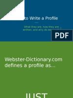 engw1111 presentation - profiles