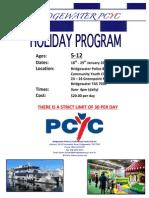 January 2016 School Holiday Program