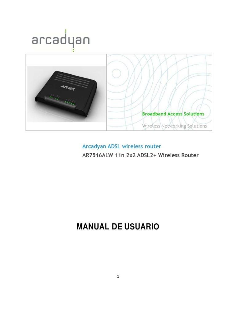 Arcadyan ADSL AR7516ALW Manual de Usuario