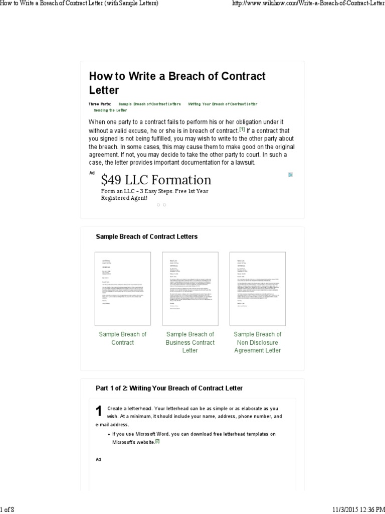 How to write a breach of contract letter with sample le how to write a breach of contract letter with sample le registered mail mail spiritdancerdesigns Images