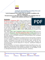 The initial report for evaluating the electoral funding and spending of the second phase of the parliamentary elections