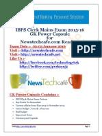 Www.newstechcafe.com IBPS Clerk 2015-16 GK Capsule