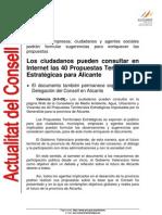 2008-05-09 Los ciudadanos pueden consultar en Internet las 40 Propuestas Territoriales Estratégicas para Alicante