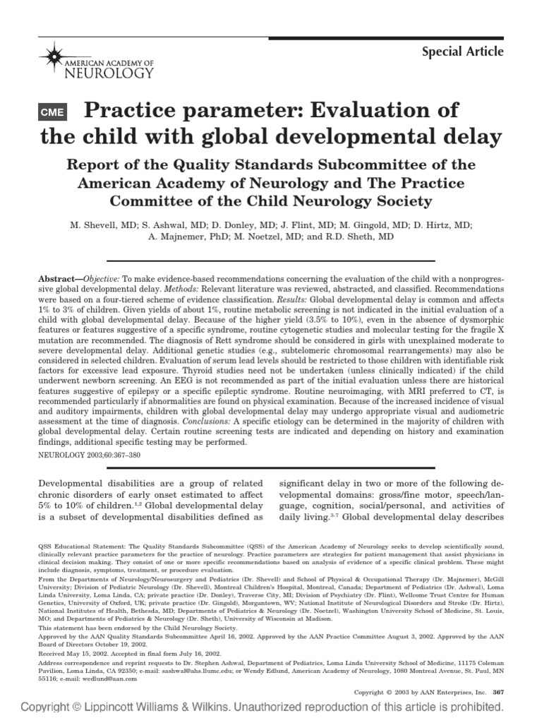 evaluation of the child with global developmental delay | epilepsy