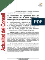 2008-05-01 La Generalitat ha aprobado más de 2 400 ayudas de la renta básica de emancipación en la Comunitat