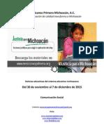 Noticias del sistema educativo michoacano al 7 de diciembre de 2015