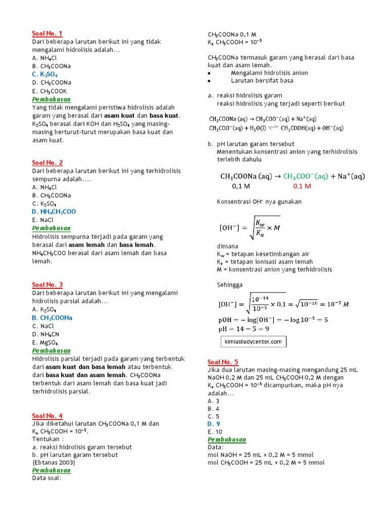 Latihan Soal Dan Pembahasan Hidrolisis