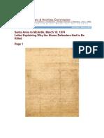 Texas Treasures. Santa Anna Letter About the Alamo
