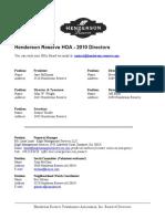 Henderson Reserve Board of Directors 2010