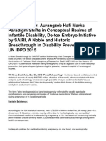Researcher Dr. Aurangzeb Hafi Marks Paradigm Shifts in Conceptual Realms of Infantile Disability, De-Tox Embryo Initiative by SAIRI, A Noble and Historic Breakthrough in Disability Prevention at UN IDPD 2015