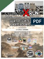 Rhino X-Run 2015 Certificate