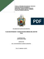 PLAN DE EXPANSIÓN Y CONSOLIDACIÓN URBANA DEL SECTOR TOLA