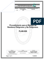 Procedimiento Para El Manejo de Residuos Peligrosos y No Peligrosos.