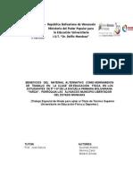 BENEFICIOS   DEL   MATERIAL  ALTERNATIVO   COMO HERRAMIENTA  DE   TRABAJO   EN    LA  CLASE   DE EDUCACIÓN    FÍSIC1.docx